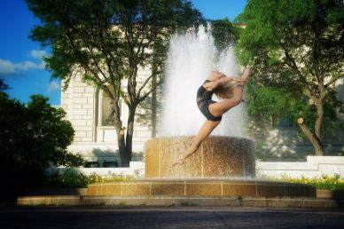 Hayden by fountain